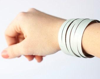 Leather Bracelet / Original Sliced Cuff / Silk