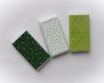 Dollhouse Miniature Set of Three Bolts of Fabric - Green Assortment, One inch scale, 1:12 Scale
