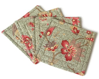 Coasters, Quilted Floral Coasters, Fabric Coasters, Blue Reversible Coasters, Beverage Mats, Set of 4 Coasters, Quiltsy Handmade