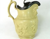 SALE! Antique Drabware Jug, Early 19C English Monkey Chimp Bacchus Mask Drab Ware Relief Moulded Jug Pitcher