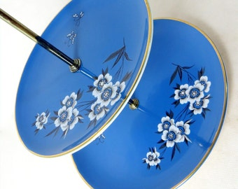 SALE! Retro Cake Stand, Palissy 'Canton' Royal Blue Floral Butterflies Transfer Print 2-Tier Cake Plates Chrome Handle 1940s-50s