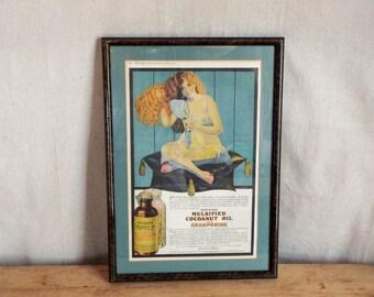 Victorian Vintage Coconut Oil Advertising Print, Unique Original Housewarming Gift Ideas, 100 years or older, Girls Powder Room Decor