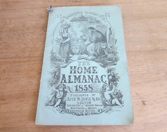 Vintage Books, Antique Books, 1858 The Home Almanac by Seth W Fowle and Co