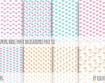 Spring Birds Backgrounds, Pink Birds Backgrounds, Blue Birds Backgrounds, Birds Digital Download Backgrounds Pack, Birds Scrapbook Paper