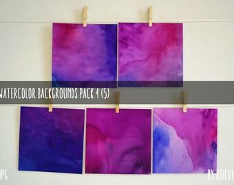 Watercolor Digital Background Paper, Watercolor Background, Digital Scrapbooking Paper Pack 4, Purple Watercolor Backgrounds