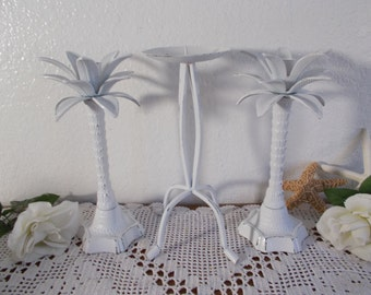 Large Palm Tree White Wedding Unity Candle Holder Set Upcycled Vintage Taper Pillar Collection Rustic Shabby Chic Beach Cottage Home Decor
