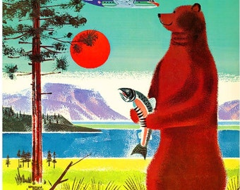 Alaska Alaskan Bear United States of America Vintage Travel Advertisement Art Poster Print
