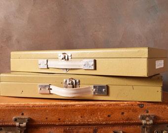 Pair of Vintage Metal Case, Industrial, Metal Box, Slide Storage Case, Gold Tone Storage Box