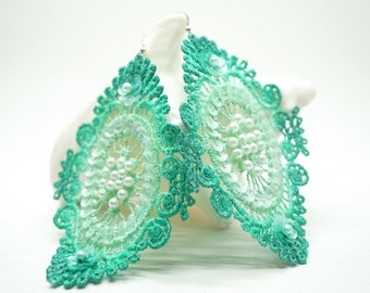 Teal and Mint Green Ombre Sequin and Beaded Lace Earrings