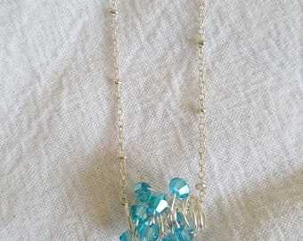 Aquamarine March Birthstone Wire Wrapped Necklace