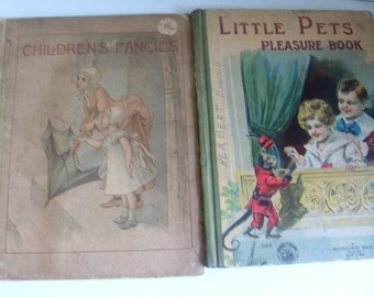 Two Antique Childrens Picture Story Books Victorian Edwardian 1890s Era