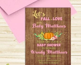 Fall Baby Shower Invitation Let's Fall in Love Invitation Little Punpkin Invite Pink Girl Gold Glitter Invite Autumn Baby Shower