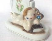 Nude Bathing Beauty Vase Perfume Bottle porcelain Lady Figurine Occupied Japan Mocco Vintage