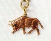 Fighting Bull Bracelet Charm Pendant Brown Art Deco jewelry Gold washed Figurine Rel. Vintage