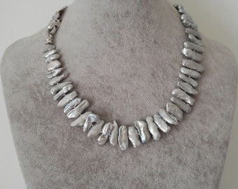 pearl necklace- biwa pearl necklace, silver gray pearl necklace