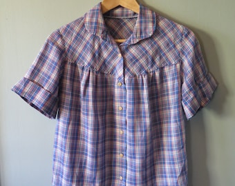 Vintage 1970's PLAID Handmade Button Down Camper Shirt With Rounded Collar, Size M-L