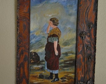 Antique old female painting in wood frame