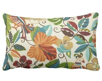 Palm Pillow, Outdoor Pillow, Floral Outdoor Pillow, Fall Outdoor Pillow,  Fall Decor