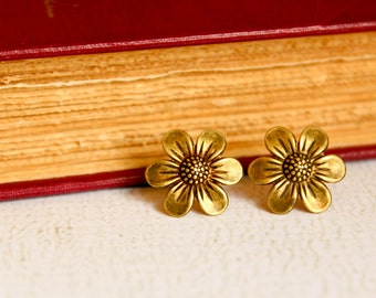 Flower Earring Studs, Available in Aged Brass and Antique Silver