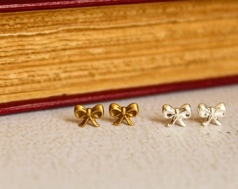 Tiny Bow Earring Studs, Available in Silver and Aged Brass