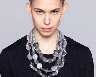 Triple necklace, textile necklace, asymmetric necklace, fabric jewelry, textile jewelry, statement necklace, bib necklace, jersey necklace