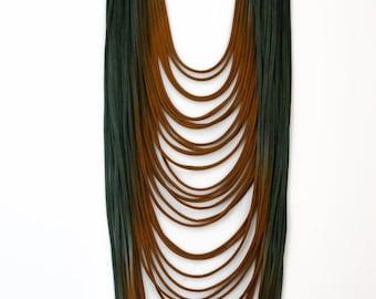 ombre long necklace,textile necklace, statement necklace,scarf necklace, dip dye, strands necklace, textile jewelry