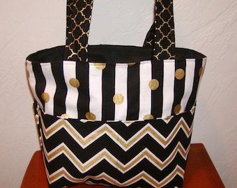 Diaper bag, handbag, purse, book bag..Black N Gold Chevron N Stripes. Customize yours now.