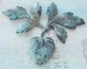 Strawberry Brass Stamping, Honey Cyan Patina