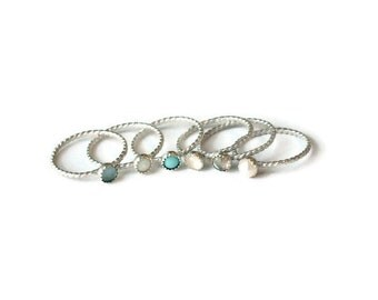 Turquoise ring, Opal Ring, Pearl ring, Moonstone Ring, Sterling silver ring, stacking ring, rope ring, midi ring, stackable ring