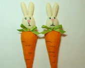 Carrot Bunnies, set of (2) Wool Felt Blend, Stuffed Handmade Easter Ornaments