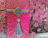 Korean Traditional Designed Envelope with Memo Card -  Cherry Blossoms with Tassel