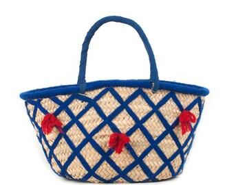 Blue Pattern Market Basket with Red Pompoms - Handmade