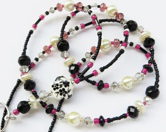 FLORAL AMETHYST- Beaded ID Lanyard-  Sparkling Crystals, Glass Pearls, and Silver Accents - (Magnetic Clasp)