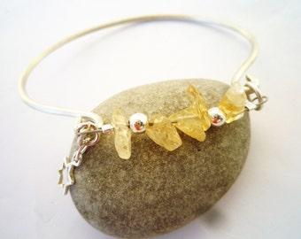 Cuff bracelet, Sterling silver cuff bracelet, Rough Citrine bracelet, November birthstone, Star charm, Chic cuff bracelet,