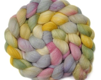 Hand dyed roving - Silk / Polwarth 40/60% wool roving - 4.0 ounces - Delicate Flower 2