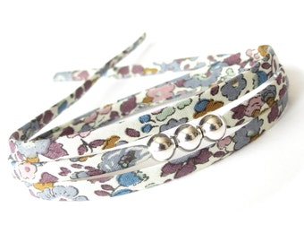 Small thinking of you gift for someone special, get well gift, floral fabric bracelet with silver beads, triple wrap in dark colours