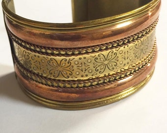 Vintage Copper and Brass Cuff Bracelet Made in India