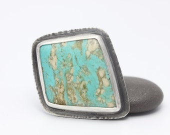 Freeform Turquoise Ring, Sterling Silver Ring, Turquoise, Statement Ring, Size 5.5