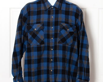 Men's 90s Blue Black Flannel Button Shirt - SUTTER & GRANT - XL
