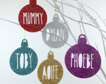 Personalised Name Glitter Christmas Bauble