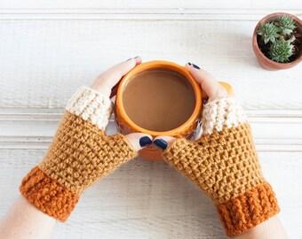 """Crochet Fingerless Gloves in """"Pumpkin Spice Latte"""" Pumpkin Orange Honey Yellow and Cream Beige Ombre Fingerless Mittens Fall Autumn"""