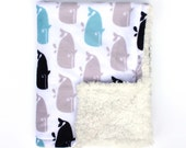 Infant Baby Car Seat Lap Blanket, Blue & Grey Whales