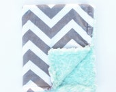 Infant Baby Car Seat Lap Blanket, Light Gray and White Chevron with Mint Green Minky Swirl