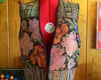 Vintage men's reversible hippie vest with tapestry size Medium