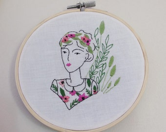 Hand embroidery, interior decoration,illustration, plant, flower