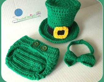 Crochet St Patricks Day Baby Set Leprechaun St Pattys Top Hat Bow Tie Diaper Cover Newborn Outfit Photo Prop Costume