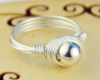 Small Simple Sterling Silver Filled Round Bead and Sterling Silver Filled Wire Wrapped Ring- Any Size 4, 5, 6, 7, 8, 9, 10, 11, 12, 13, 14