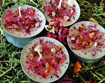 L-O-V-E Soy TEALIGHT CANDLES, 4 pk, Herbal Spell Candle for Playful Love, Excitement - Witchcraft, Magick, Hoodoo