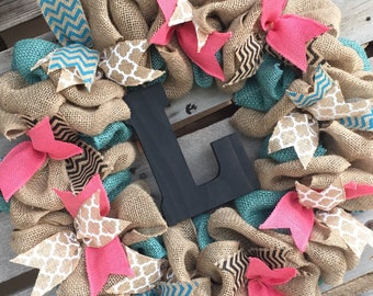 Burlap Wreath, Door Hanger, Coral and Turquoise Wreath, Housewarming Gift, Rustic Home Decor, Cross Wreath, Personalized, Coral Decor