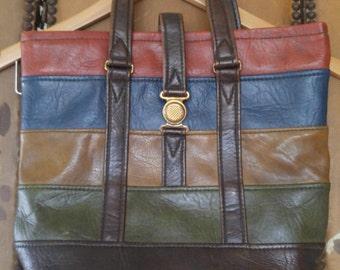 70s earth tone striped faux leather hand bag by Rene, Portland Oregon